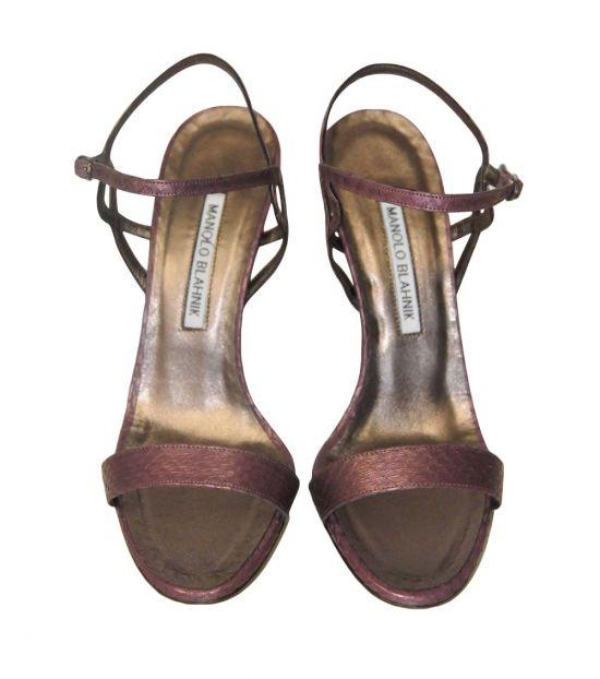 Manolo blahnik Brown Open Toe Leather Heels