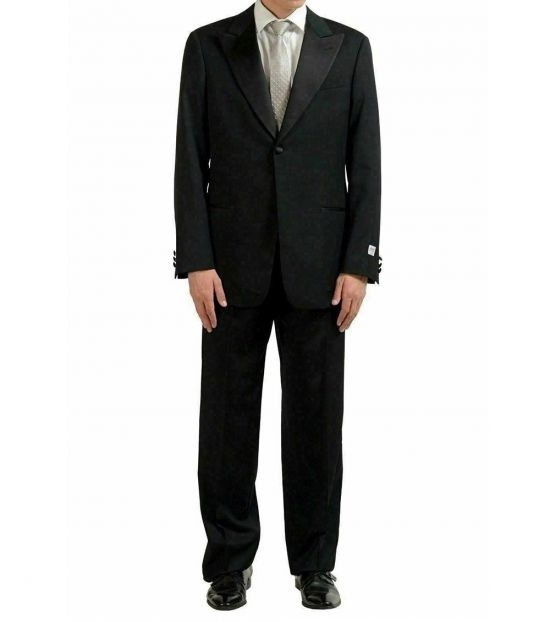 Armani Collezioni Black Wool One Button Suit