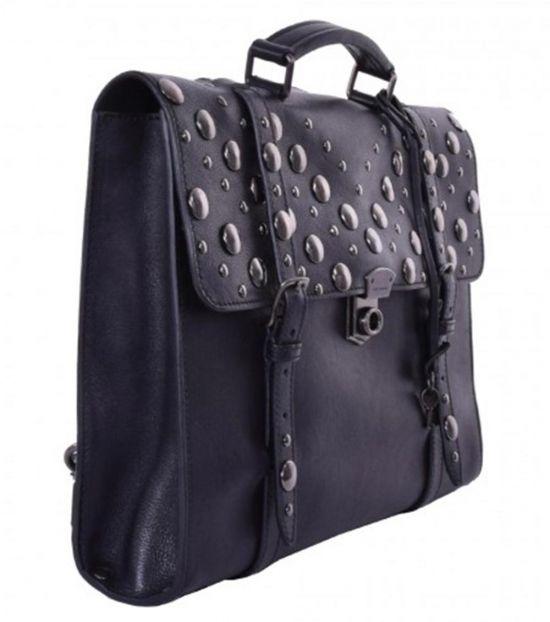 Dolce & Gabbana Black Large Plaque Studs Briefcase Bag