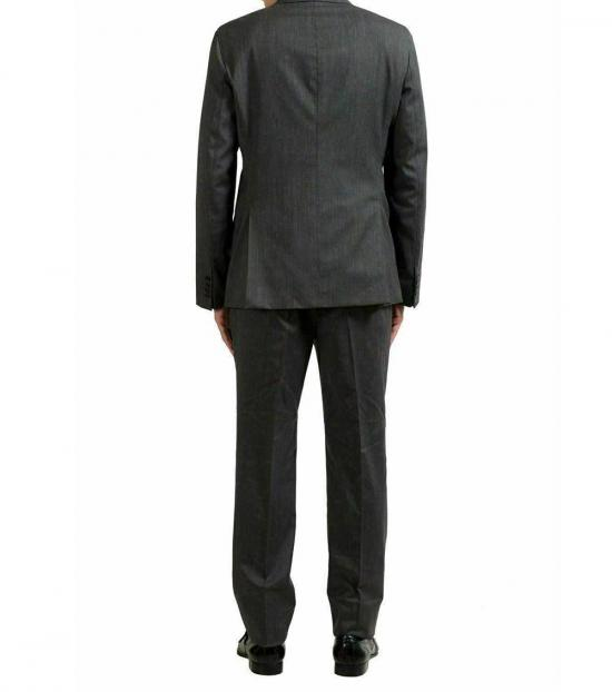 Armani Collezioni Grey Striped Wool Suit