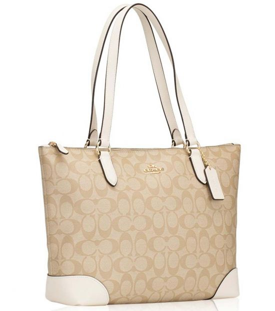 Coach Light Khaki/Chalk Top Zip Large Tote