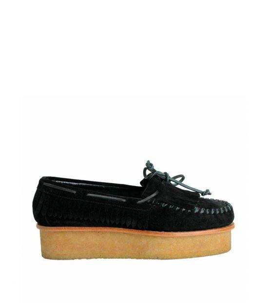 Giuseppe Zanotti Black Suede Platform Loafers