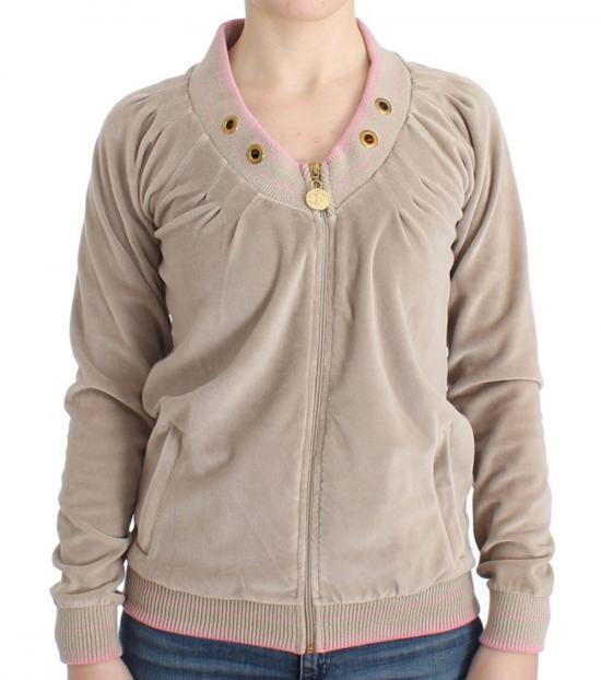 Just Cavalli Beige Velvet Zip up Sweater