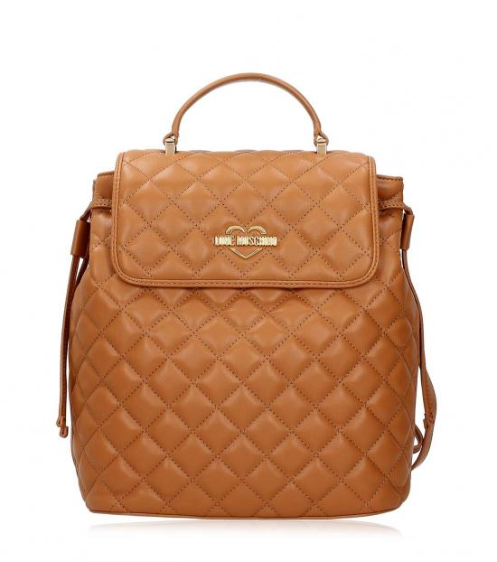 Love Moschino Brown Quilted Small Backpack