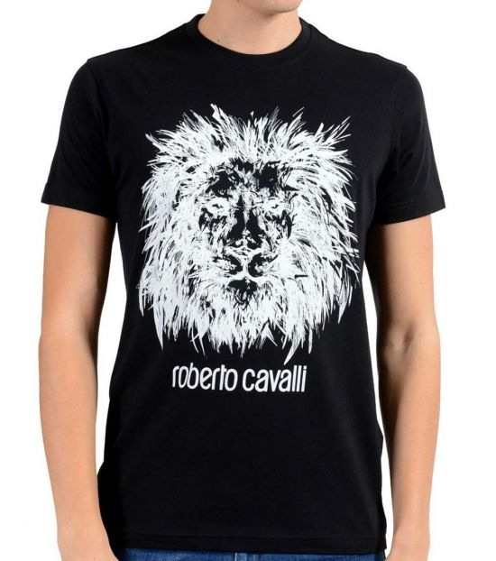 Roberto Cavalli Black Graphic Lion Crewneck T-Shirt