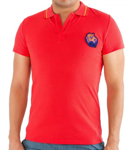 Just Cavalli Red Contrast Logo Patch Polo