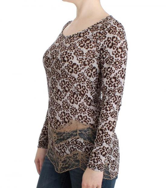 Just Cavalli Brown Long Sleeved Lace Top