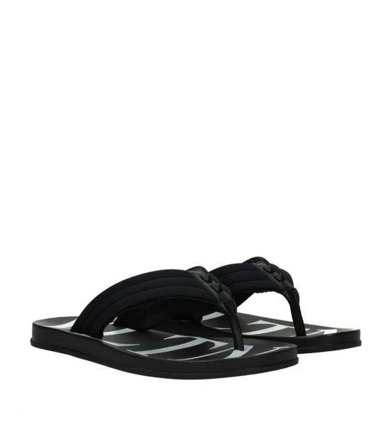 Valentino Garavani Black Studded Strap Flip Flops