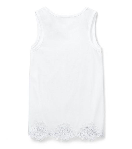 Ralph Lauren Girls White Lace-Trim Tank Top