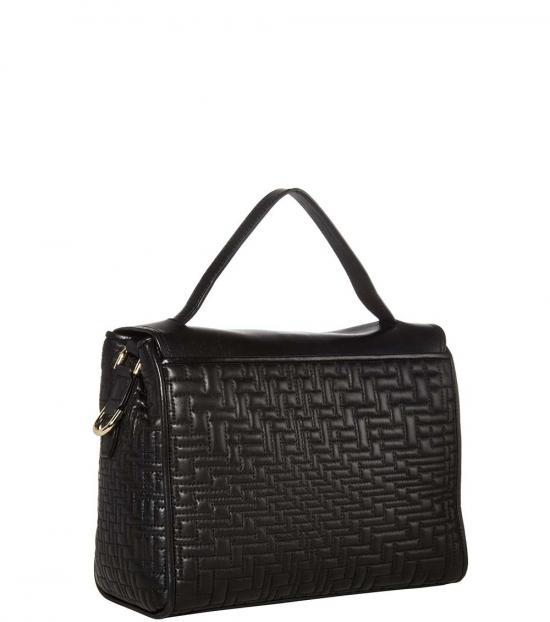 Cole Haan Black Lock Quilted Small Satchel