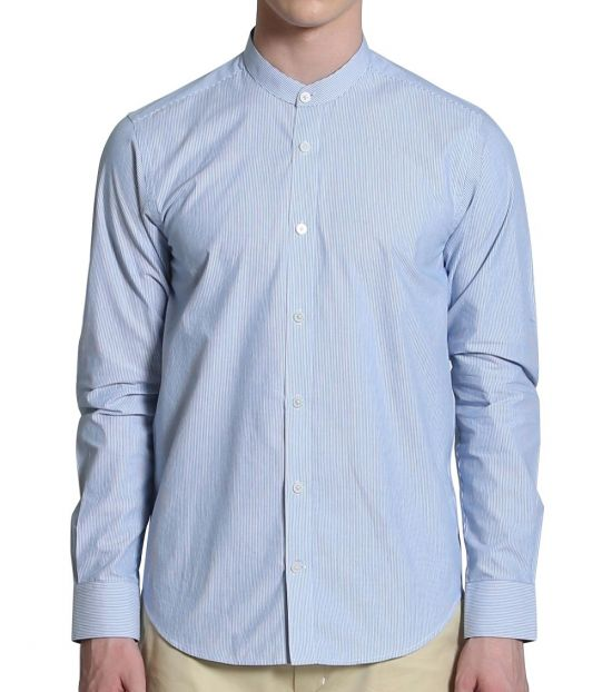 Self Stitch Grandad Collar Stripe Shirt