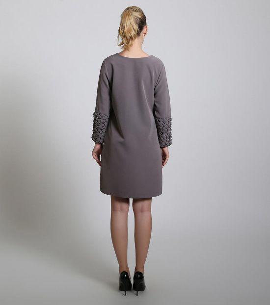 Self Stitch Smoked Cuff Embellished Dress