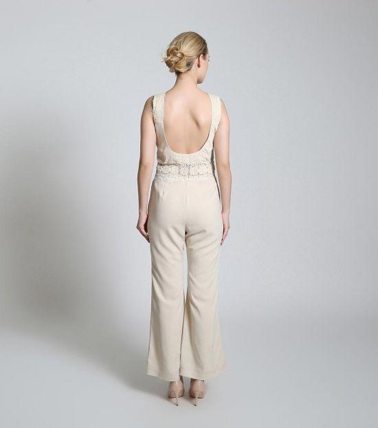 Self Stitch Grace Beige Jumpsuit