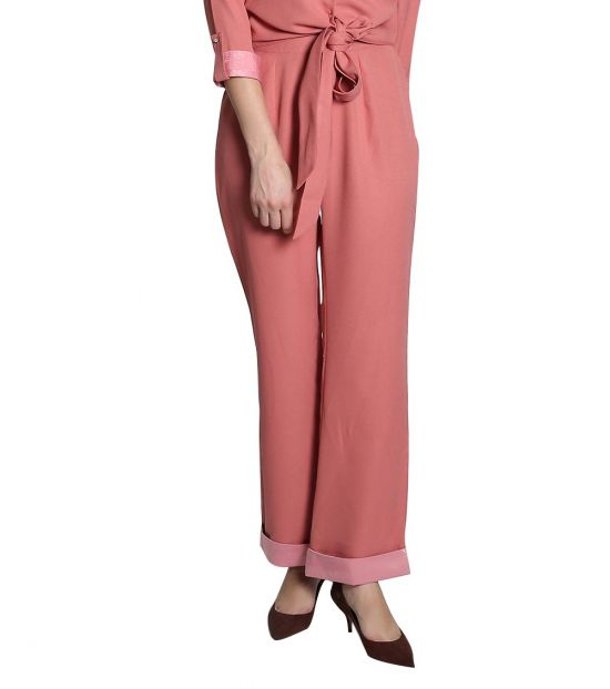 Self Stitch Coral Wide Leg Trousers