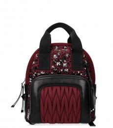 Red Black Leather Small Backpack