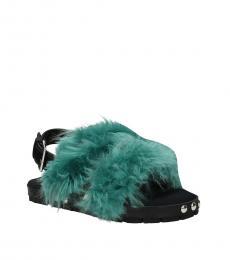 Green Fur Sandals