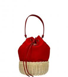 Prada Red Straw Small Bucket Bag