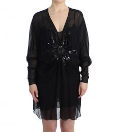 Cavalli Class Black Long Sleeve Silk Dress