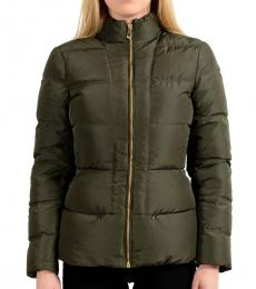 Bottle Green Zipper Parka Jacket