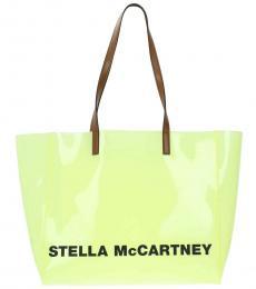 Stella McCartney Yellow Shopping Logo Large Tote