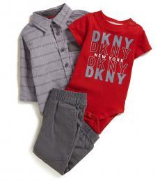 DKNY 3 Piece Shirt/Bodysuit/Jogger Set (Baby Boys)