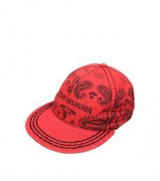 True Religion Red Bandana Strapback Cap