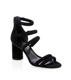 Black Strappy Suede Heels
