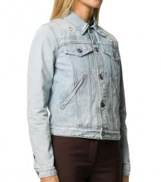 Givenchy Light Blue Distressed Denim Jacket