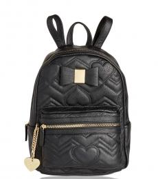 Betsey Johnson Black Bow Quilted Medium Backpack