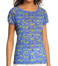 Diane Von Furstenberg Blue Elleana Floral T-Shirt