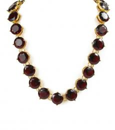Gold-Red Crystal Faceted Collar Necklace