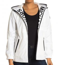 Michael Kors White Hooded Logo Plush Jacket