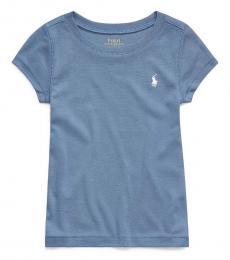 Ralph Lauren Little Girls Capri Blue Crewneck T-Shirt