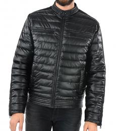 Black Solid Quilted Jacket