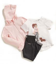 DKNY 3 Piece Hoodie/T-Shirt/Jeggings Set (Little Girls)