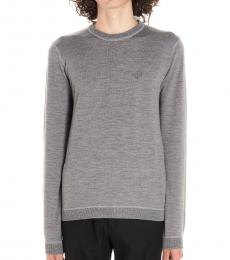 Grey Solid Logo Sweater