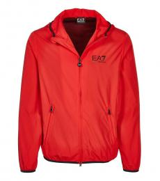 Emporio Armani Red Logo Hooded Jacket