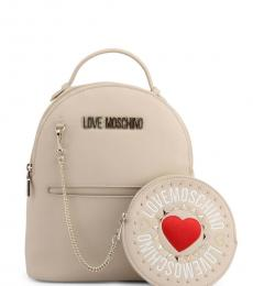 Beige Round Pouch Small Backpack