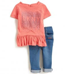 DKNY 2 Piece Top/Jeans Set (Baby Girls)