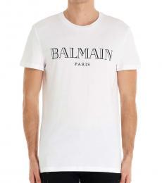 Balmain White Graphic Logo T-Shirt