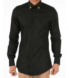 Black Popeline Gold Shirt