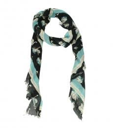 Stella McCartney Blue Logo Print Scarf