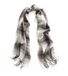 Ralph Lauren Grey Heather Brushed Plaid Scarf