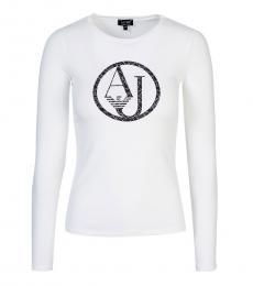 Armani Jeans White Crew Neck Logo Tee