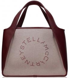 Stella McCartney Beige/Bordeaux Logo Large Tote