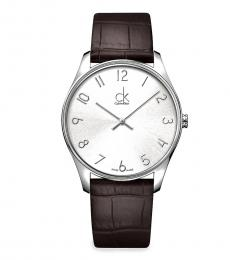 Calvin Klein Brown Silver Dial Watch