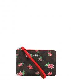 Coach Brown Red Floral Corner Zip Wristlet