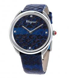 Salvatore Ferragamo Blue Cuir Watch