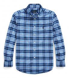 Boys Blue/White Plaid Performance Poplin Shirt