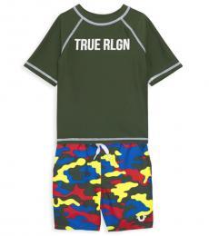 True Religion 2 Piece Rashguard/Swim Trunks Set (Baby Boys)